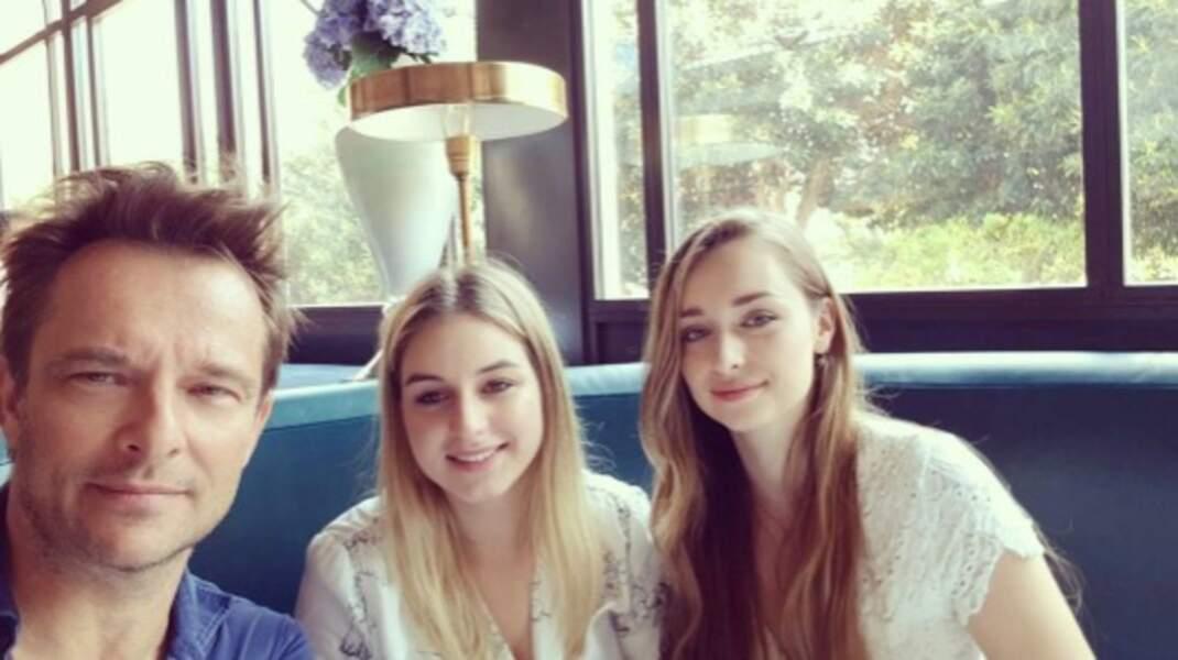 Selfie de famille : David Hallyday, sa sœur Darina et sa fille Emma.