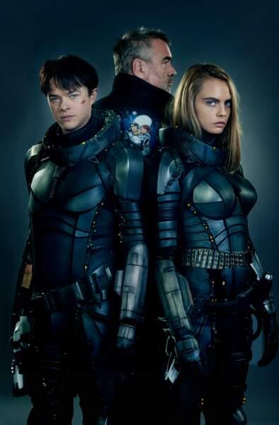 Le réalisateur Luc Besson et deux de ses acteurs, Dane DeHaan et Cara Delevingne