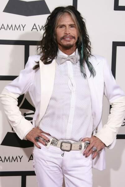 Steven Tyler (Aerosmith), le père de Liv, en total look blanc