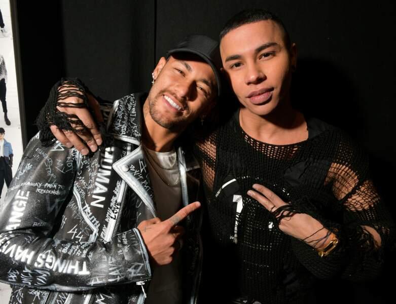 Neymar a aussi posé avec Olivier Rousteing, le génial styliste de Balmain