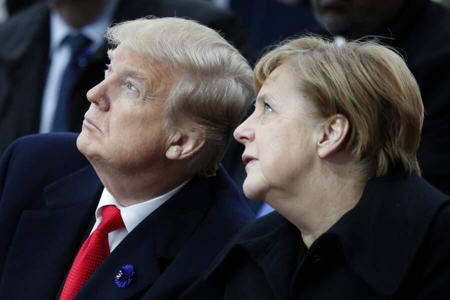 Donald Trump et Angela Merkel regardent - pour une fois ? - dans la même direction