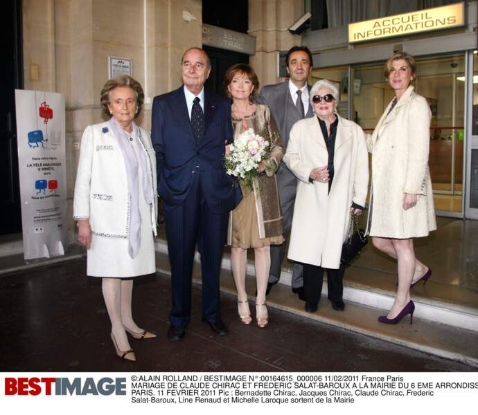 11 février 2011, Bernadette assiste au deuxième mariage de sa cadette Claude avec Frédéric Salat-Baroux
