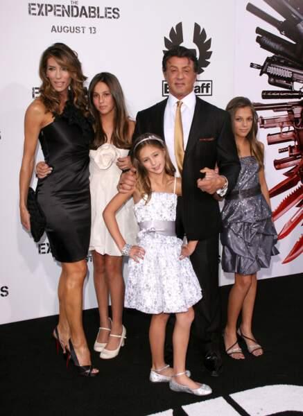 "2013, Première deThe Expandables Sylvester Stallone et ""ses femmes"" : Sophia, Sistine, Scarlet et Jennifer Flavin"