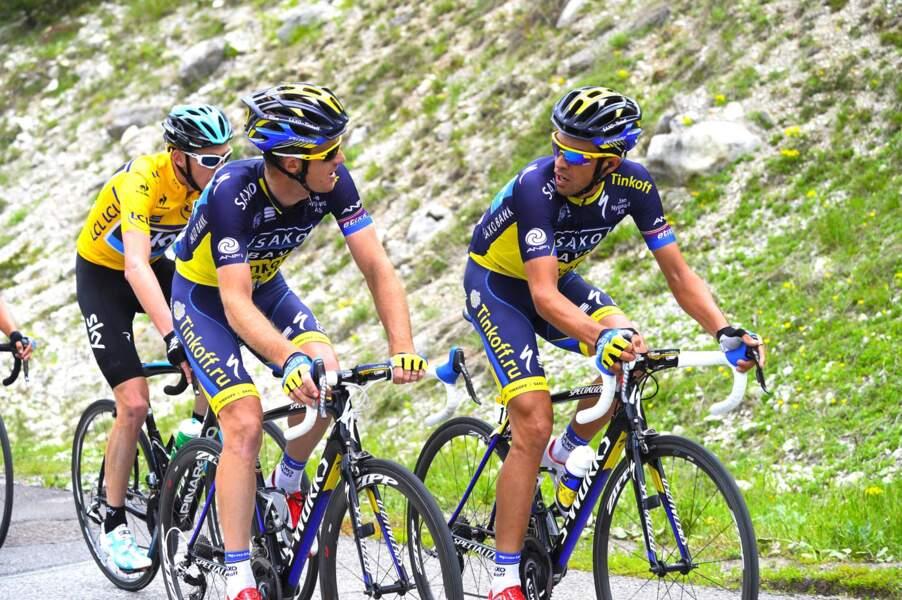 Et Contador peut compter, à sa droite, sur Michael Rogers pour devancer Froome ici en jaune