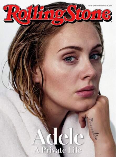 Adèle sans maquillage, pour la couverture du magazine Rolling Stone.