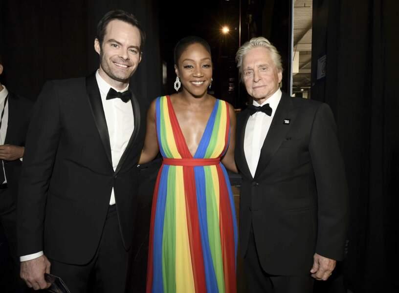 Michael Douglas a pris la pose avec Bill Hader et Tiffany Haddish. Une soirée inoubliable