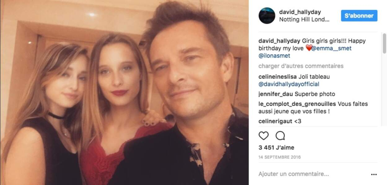 Selfie avec ses 2 filles, Emma et Ilona