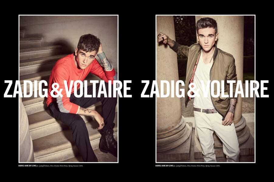 Gabriel a déjà posé pour des marques comme Zadig & Voltaire...