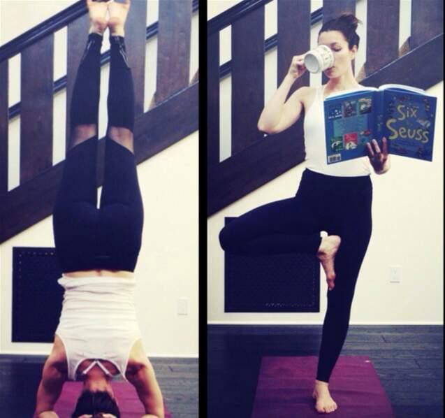 Yoga aussi pour Jessica Biel (qui arrive à faire plein de trucs en même temps).