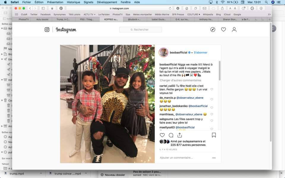 Booba a finalement pu passer Noël à l'étranger avec ses enfants malgré le vol de ses papiers
