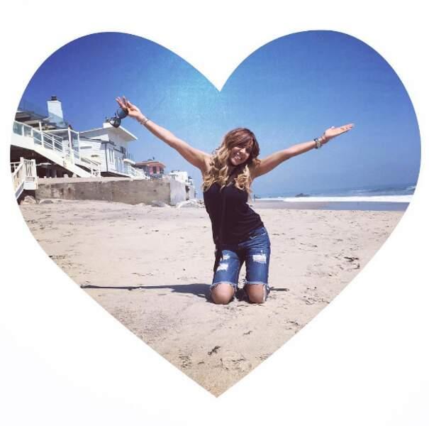 Cathy Guetta était super heureuse d'être à Malibu...
