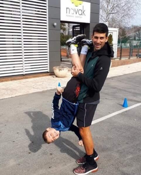 Novak Djokovic et son fils Stefan s'amusaient comme des petits fous.