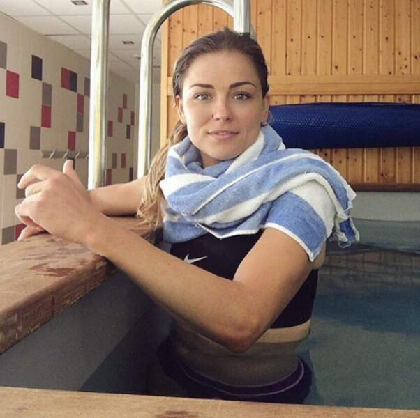 La footballeuse Laure Boulleau était à l'entraînement.