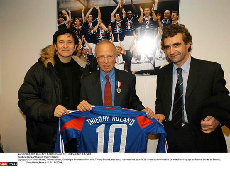Fan des Bleus, Francis Huster heureux aux côtés de Thierry Roland et l'Ange Vert Rocheteau