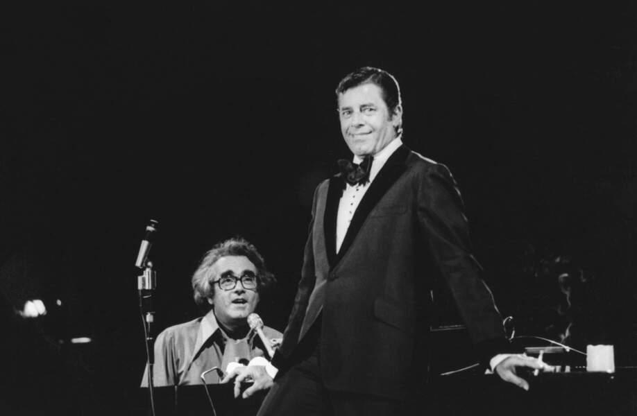 """Michel Legrand et Jerry Lewis enregistrent l'émission """"Michel Legrand et ses amis"""" en 1977 à Montreal"""