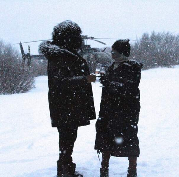 Beyoncé et Jay-Z ou le luxe de siroter du champagne tranquillement dans la neige !