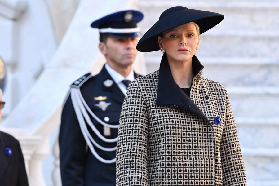 La princesse Charlène de Monaco très sérieuse