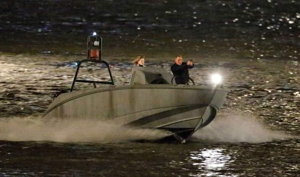 Léa Seydoux et Daniel Craig sur le tournage de 007 Spectre...