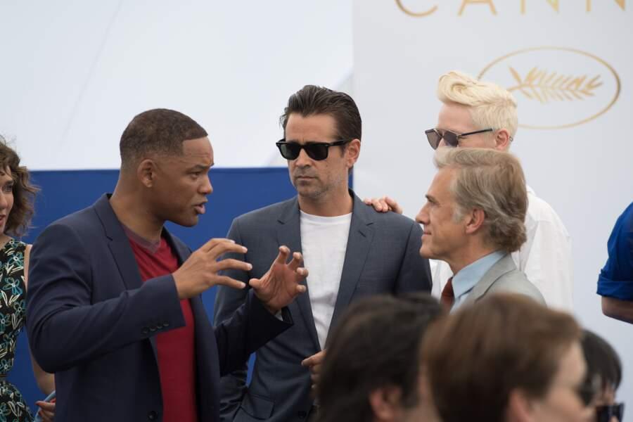 Will Smith, Colin Farrell et Christoph Waltz en pleine discussion