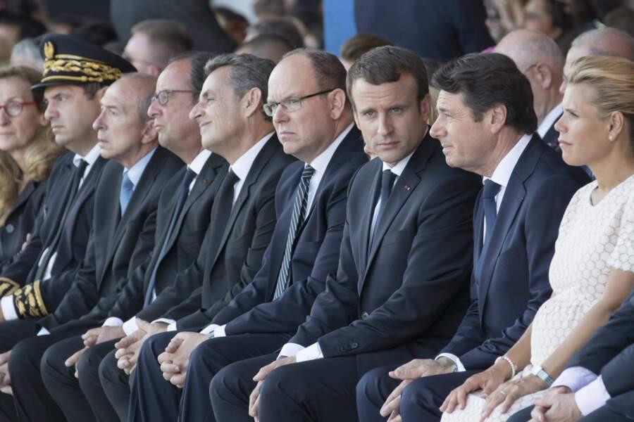 Les officiels au premier rang durant l'hommage aux victimes de l'attentat de Nice