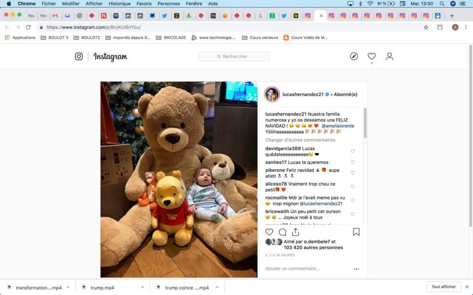 Pour le premier Noël de son bébé, Lucas Hernandez a vu les choses en grand