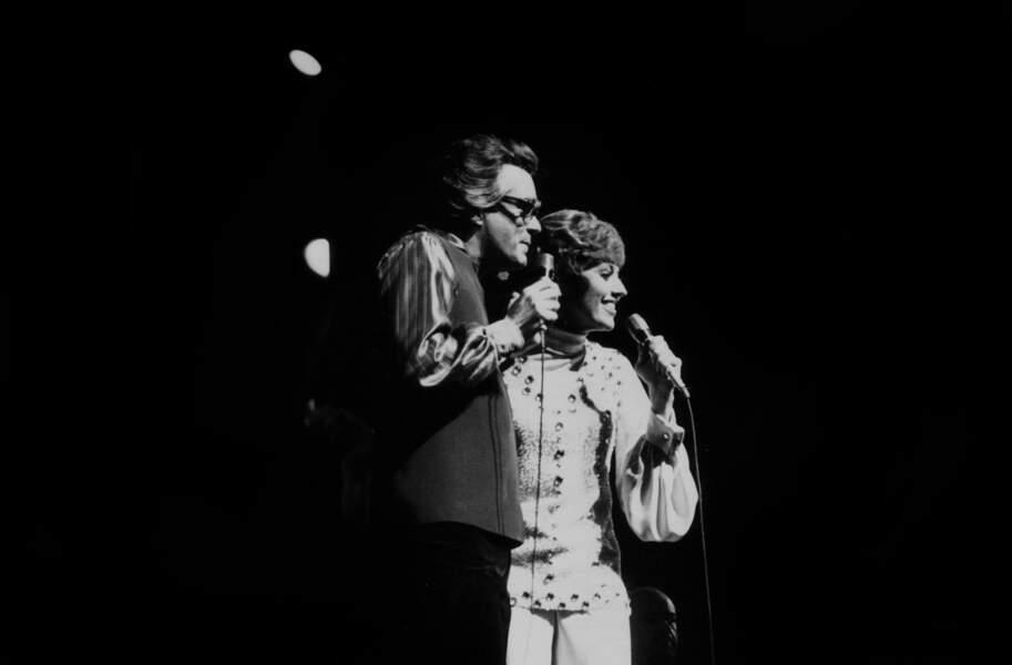 Michel Legrand avec Catherina Volente lors de sa première à l'Olympia le 19 janvier 1972