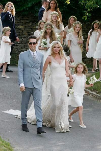 Esprit hippie chic pour la robe de Kate Moss, 38 ans, lors de son mariage avec le musicien Jamie Hince (2011)