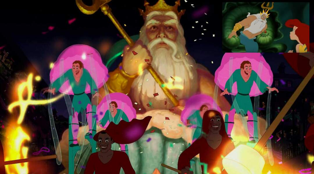 La Princesse et la Grenouille : un char à l'effigie du roi Triton, père d'Ariel la petite sirène