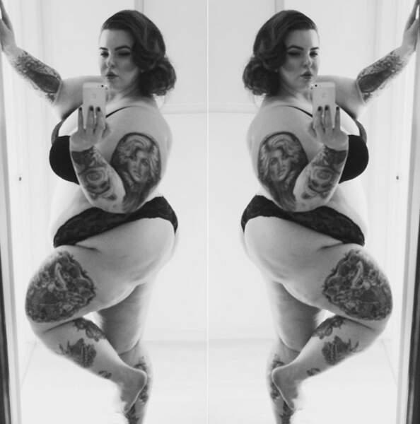 Un des nombreux selfies dénudés de Tess Holliday