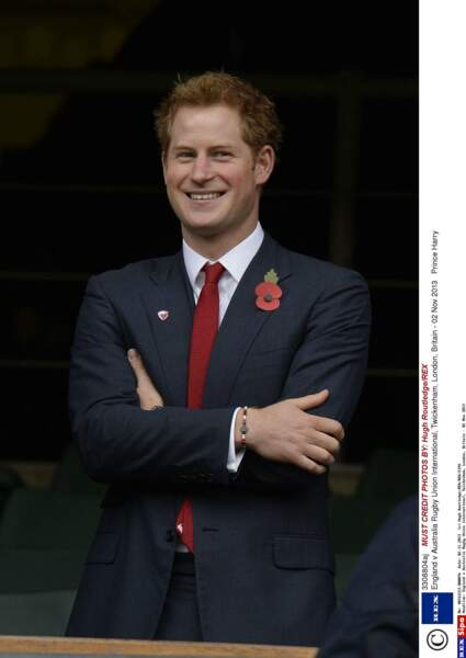 Novembre 2013 à Twickenham, Harry assiste à un match de rugby : Angleterre v Australie.