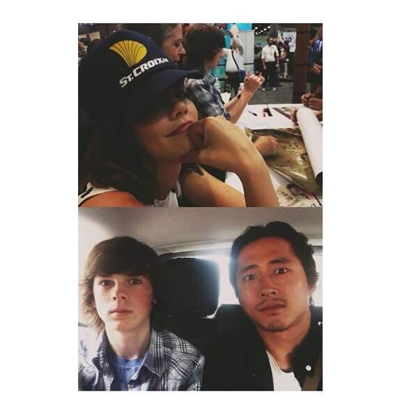 En haut, sous la casquette, Lauren Cohan au Comic-Con. En bas, Steven Yeun (Glenn) et Chandler Riggs