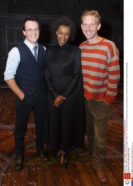 Et voici les stars de la pièce : Jamie Parker (Harry), Noma Dumezweni (Hermione) et Paul Thornley (Ron)