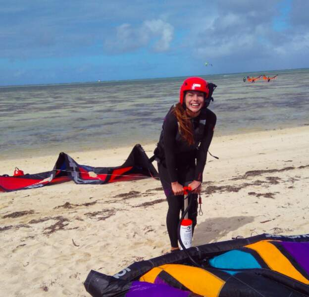 Marine Lorphelin s'essayait au kitesurf.