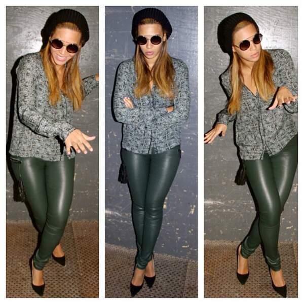 Beyoncé Knowles partage aussi ses looks, là, elle est en mode casual