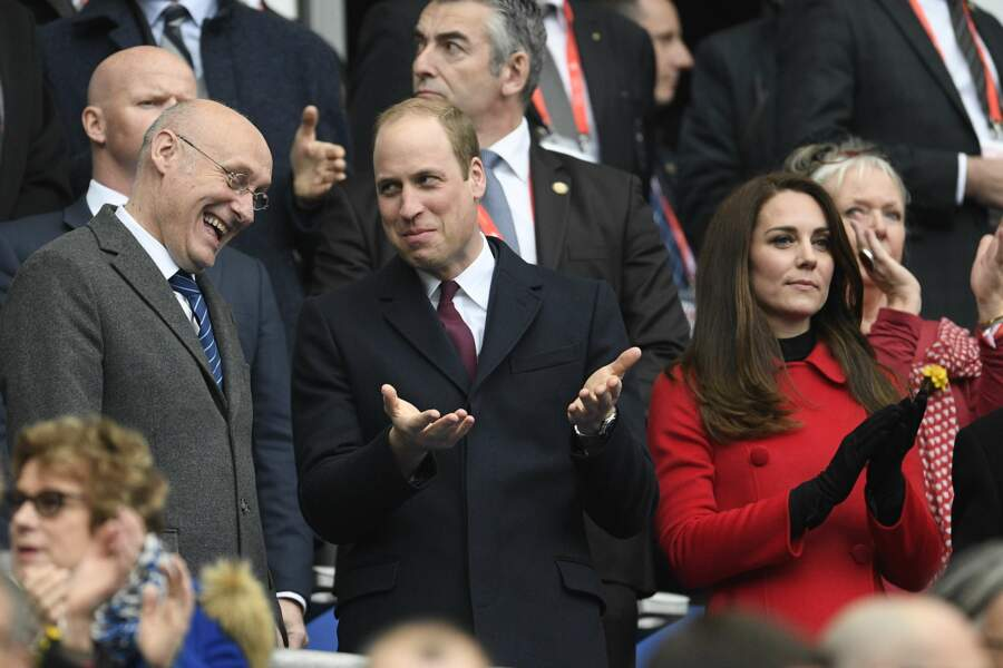 Kate Middleton, le prince William et Bernard Laporte au match de rugby France - Pays de Galles
