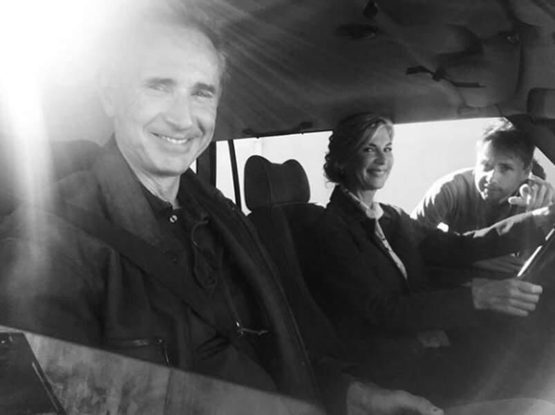 Thierry Lhermitte et Michèle Laroque sur le tournage du film Chicouf