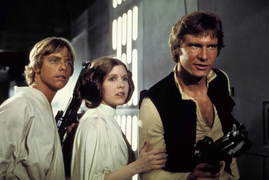 Luke Skywalker, Leia et Han Solo dans Un Nouvel espoir (1977)
