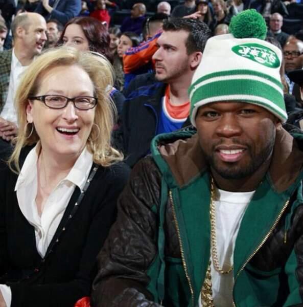 On n'aurait pas osé le parier, mais 50 Cent aime aller au stade avec Meryl Streep !