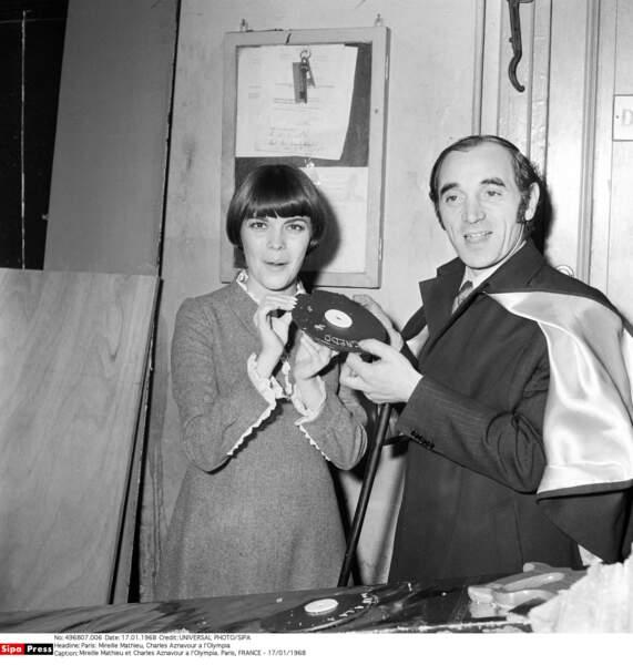 Avec Mireille Mathieu à l'Olympia en 1968
