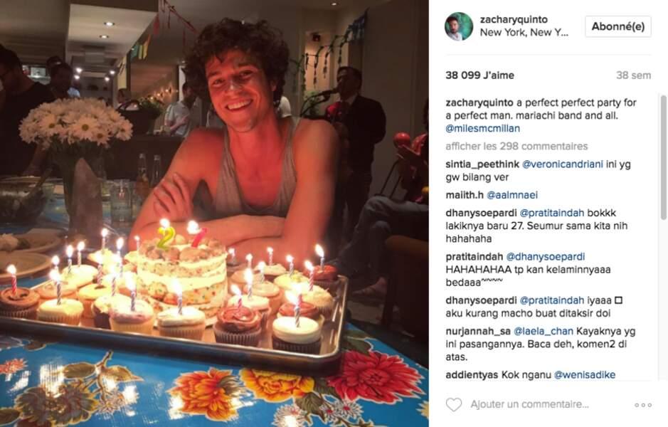Zachary n'oublie jamais l'anniversaire de son compagnon, qui aura 28 ans en juin prochain