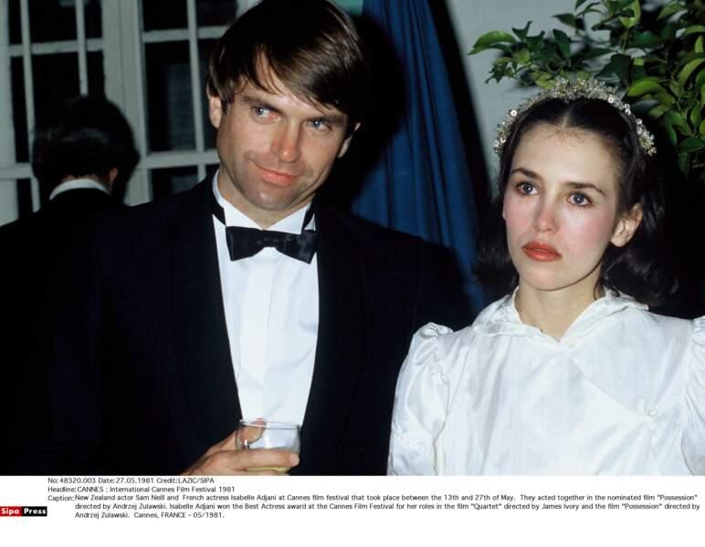 Avec Sam Neill à Cannes pour le film Possession, en 1981