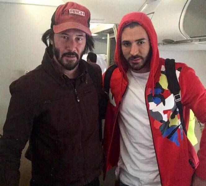 Karim Benzema n'est pas à l'Euro mais a eu la chance de rencontrer Keanu Reeves.