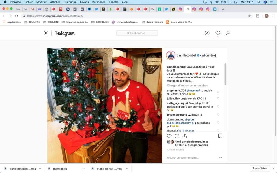 Sapin + bonnet du Père Noël + pull moche : Camille Combal nous a fait la totale