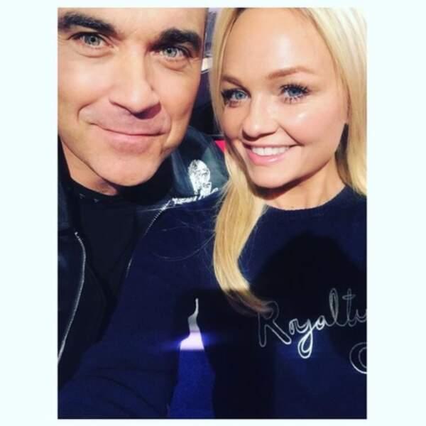 Quand deux stars des années 2000 se retrouvent, ça donne ce selfie entre Robbie Williams et Emma Bunton.