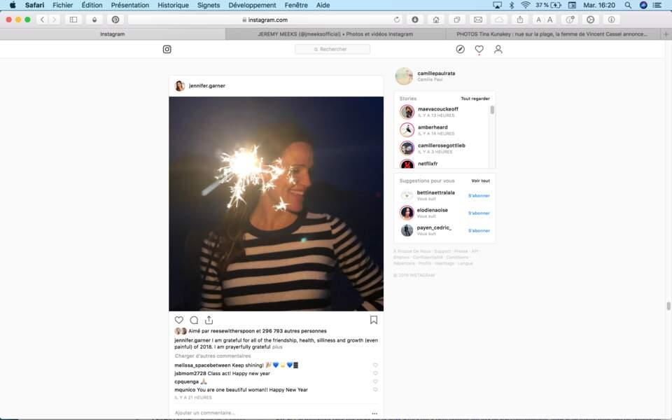 Jennifer Garner confirme que la photo nocturne avec des étincelles est LA tendance du Nouvel An 2019