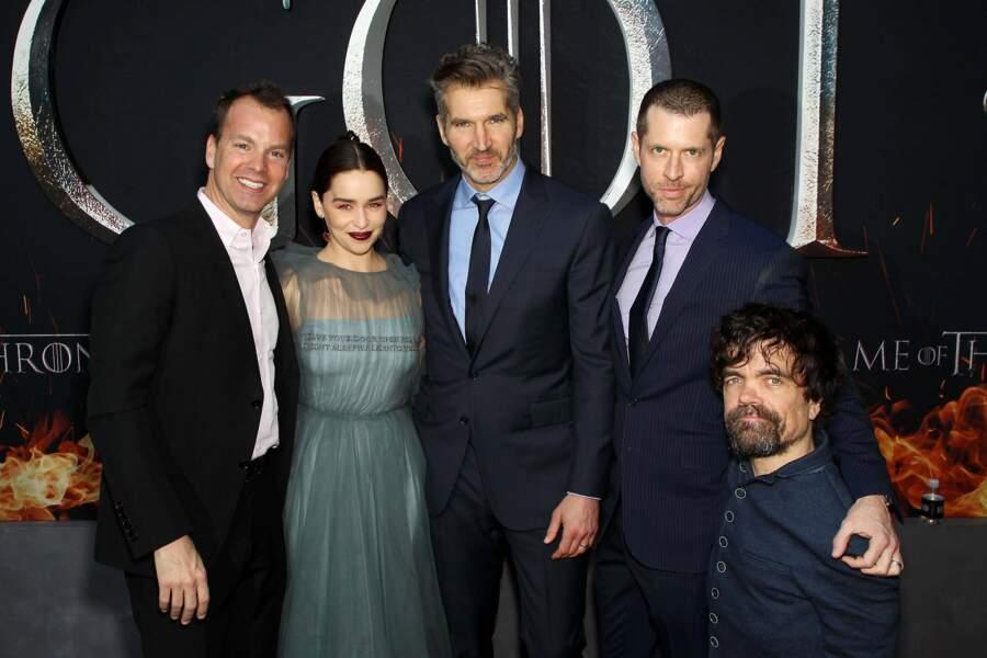 Le producteur du show Vince Gerardis, Emilia Clarke, les scénaristes David Benioff et D.B. Weiss et Peter Dinklage