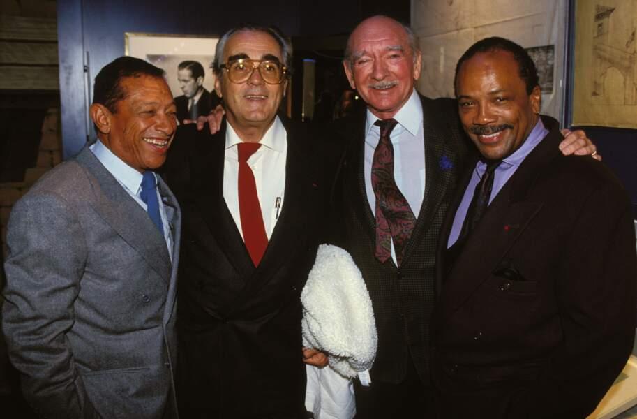 Henri Salvador, Michel Legrand, Eddie Barclay et Quincy Jones à une soirée Warner en 1991