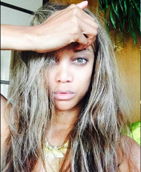 Le top model Tyra Banks sans maquillage
