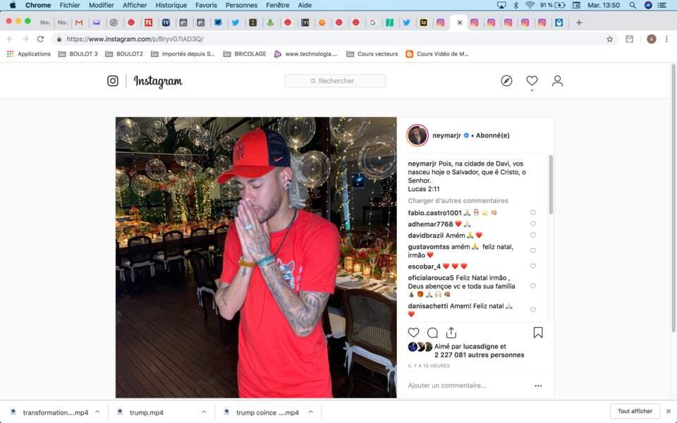 Pour le croyant Neymar, Noël est avant une fête religieuse