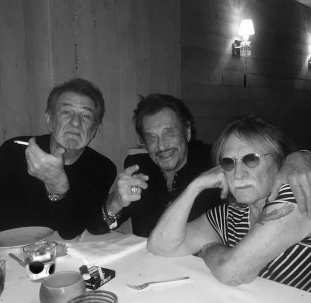 Et Johnny était avec ses potos Eddy Mitchell et Christophe.